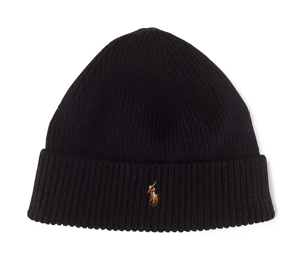 c7ba8251fcda Шапка Polo Ralph Lauren Signature Cuffed Merino Hat - Black