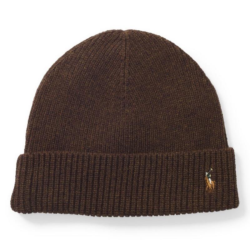 fdd9265672e9 Шапка Polo Ralph Lauren Signature Cuffed Merino Brown Hat