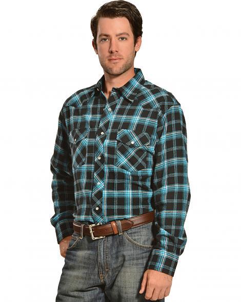 d8866d86e89 Фланелевая рубашка Wrangler Mens Black   Blue Plaid Flannel Shirt ...