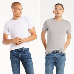 Комплект футболок Levis Slim Fit Crewneck (2-Pack) - Heather Grey and White
